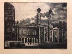 Hungarian Judaica Architectural Etching Dohany Great Synagogue Budapest Signed