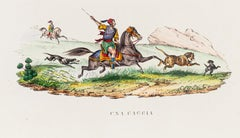Hunting in North Africa - Original Lithograph - 1848 ca.