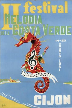 II Festival de la Melodia Costa Verde original vintage poster