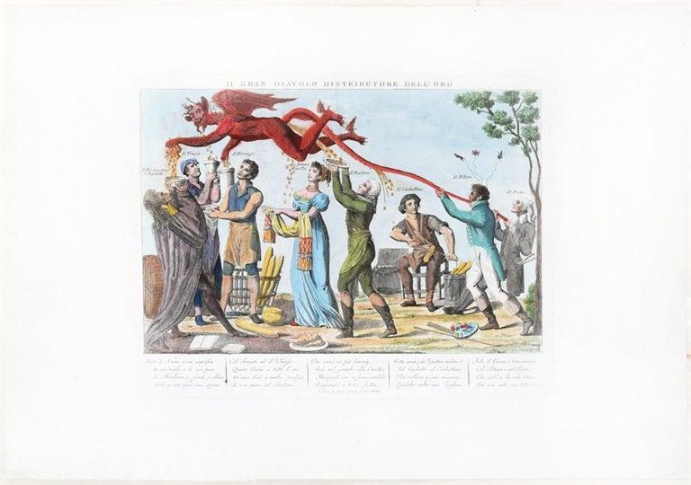 Il Gran Diavolo Distributore dell'Oro - Original Etching 1815-1850 - Print by Unknown