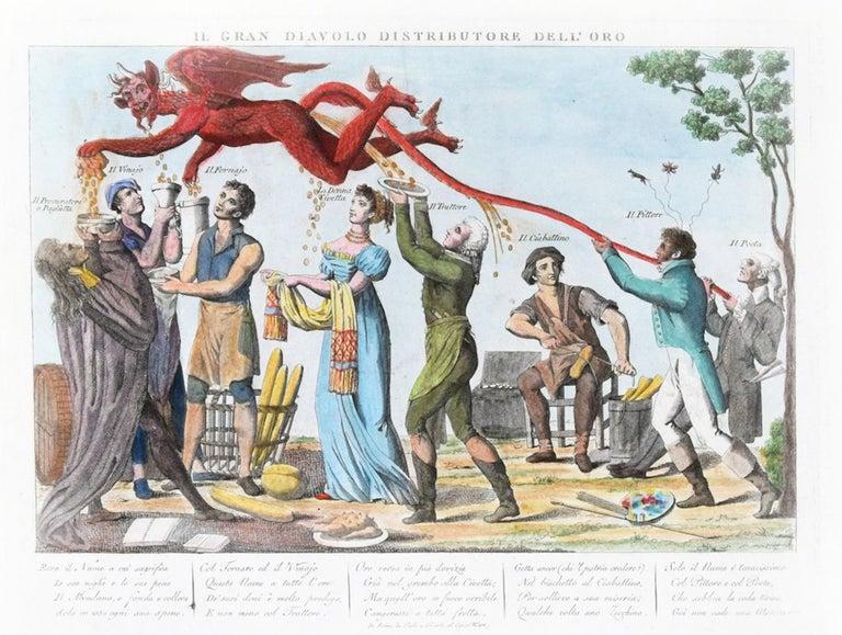 Unknown Figurative Print - Il Gran Diavolo Distributore dell'Oro - Original Etching 1815-1850