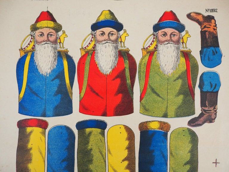 Imagerie de Wissembourg - Christmas Santa Claus - Lithograph and stencil - 1906 - Print by Unknown