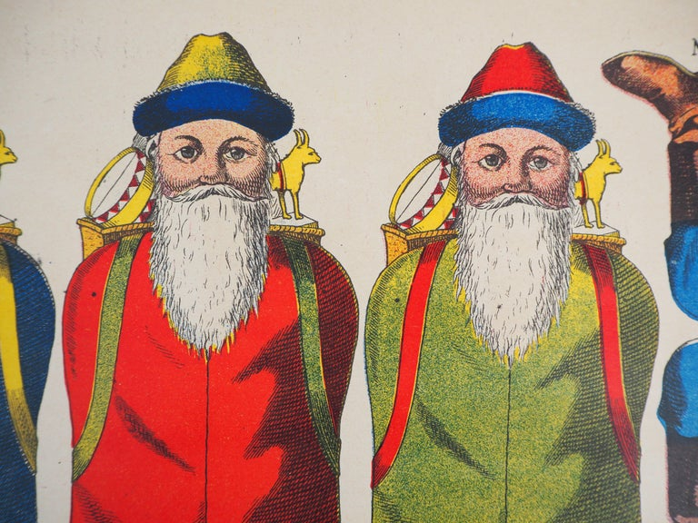 Imagerie de Wissembourg - Christmas Santa Claus - Lithograph and stencil - 1906 - Realist Print by Unknown