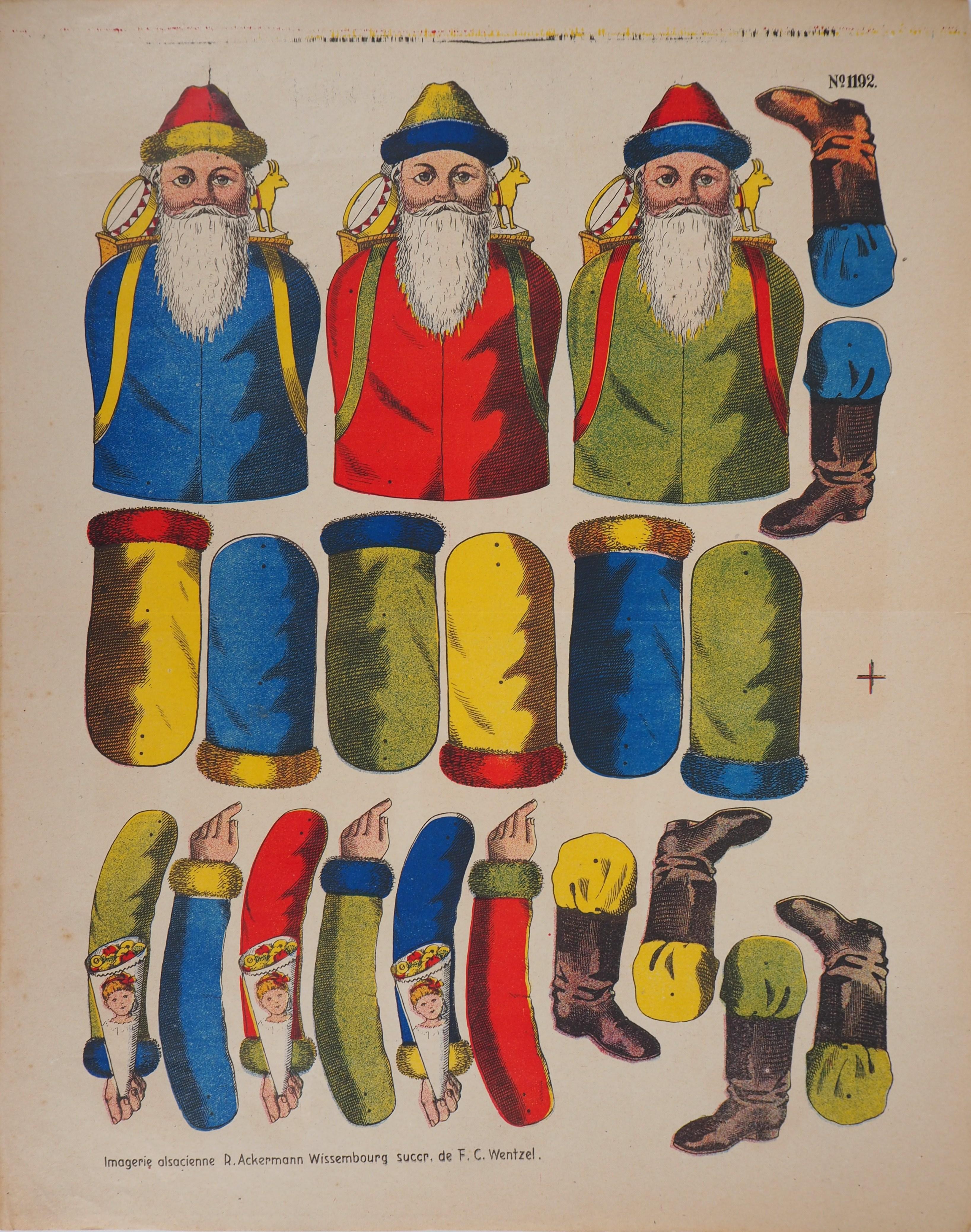 Imagerie de Wissembourg - Christmas Santa Claus - Lithograph and stencil - 1906