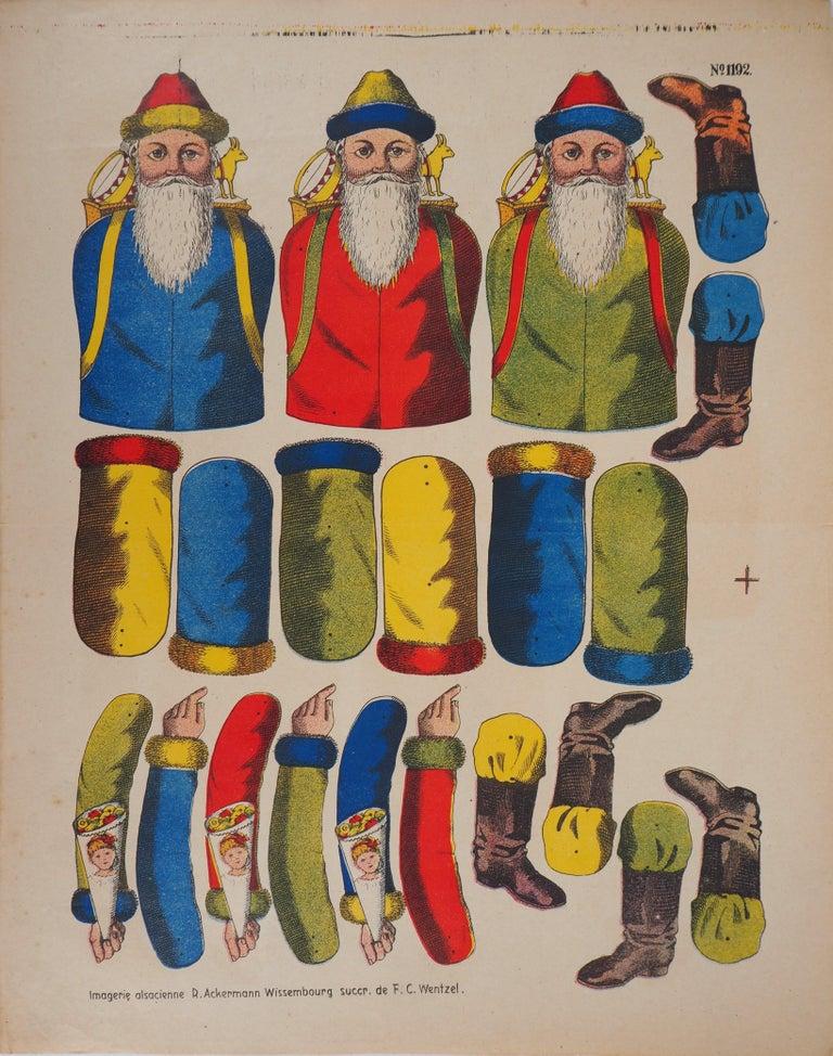 Unknown Figurative Print - Imagerie de Wissembourg - Christmas Santa Claus - Lithograph and stencil - 1906