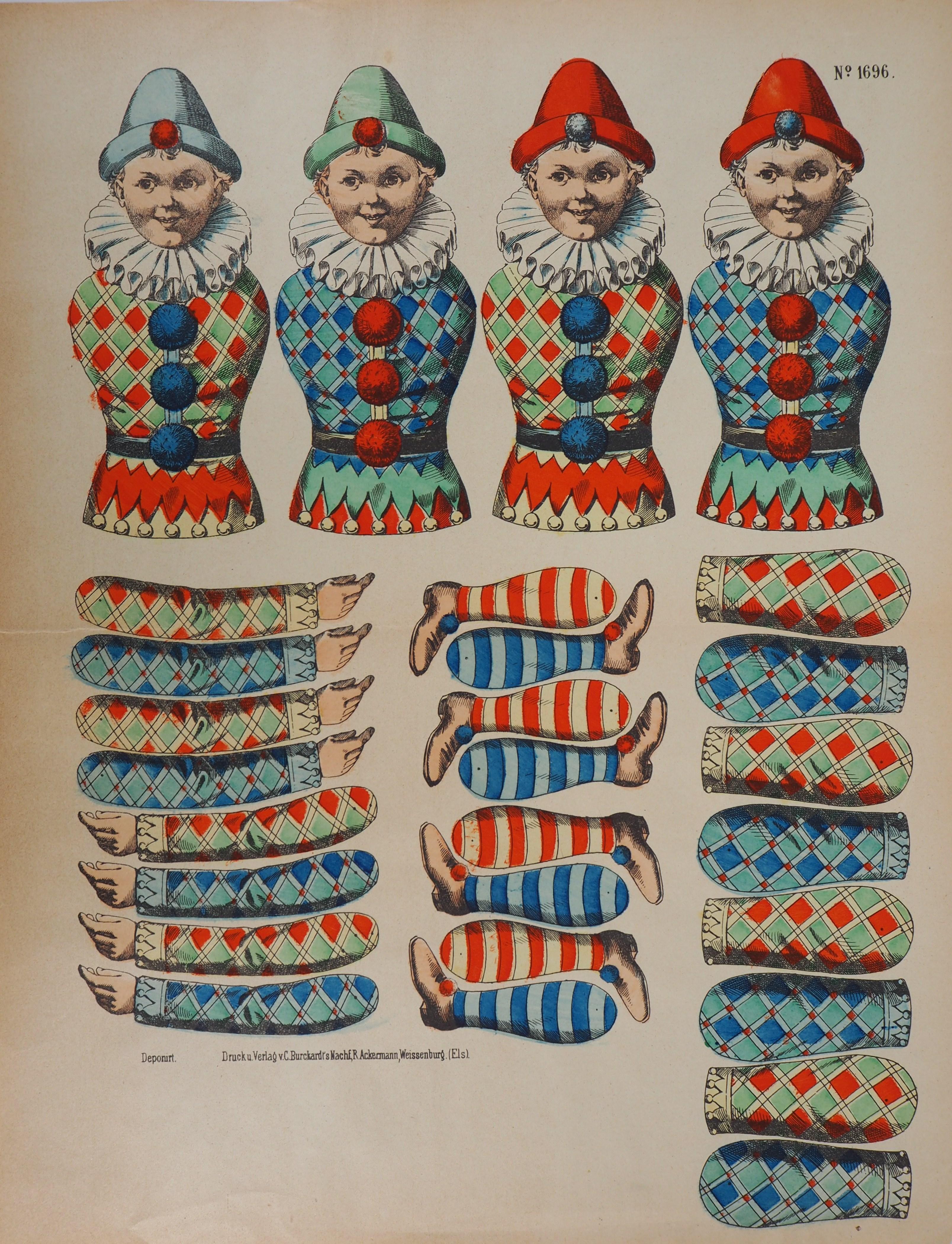 Imagerie de Wissembourg - Colorful Pierrots - Lithograph and stencil - c. 1906