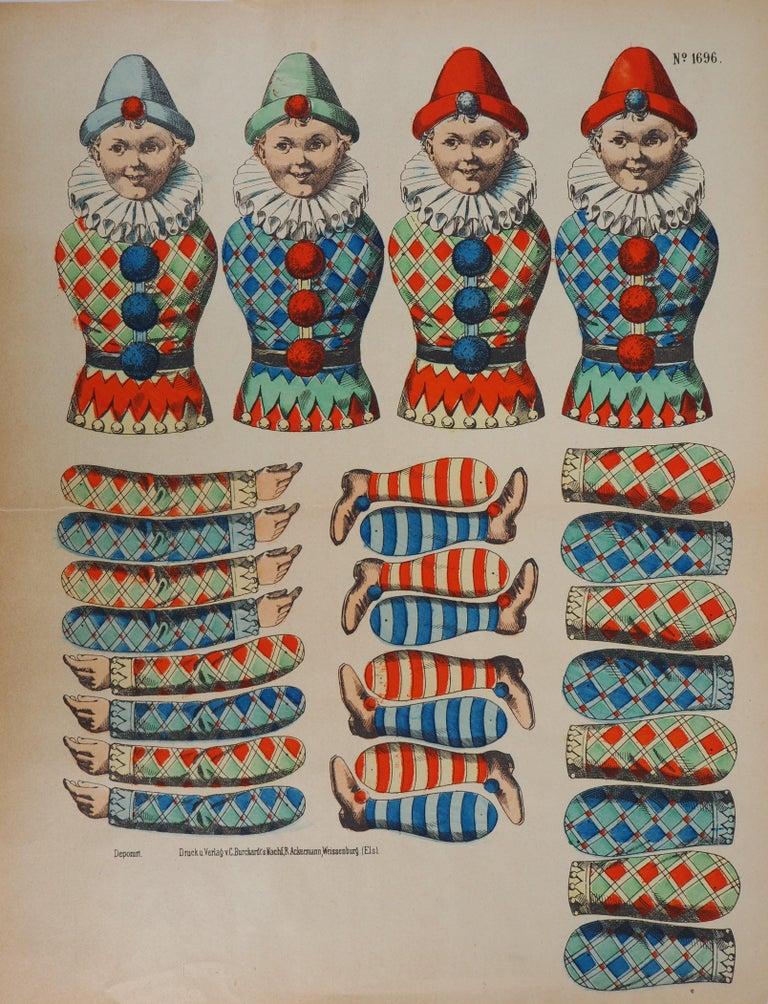 Unknown Figurative Print - Imagerie de Wissembourg - Colorful Pierrots - Lithograph and stencil - c. 1906