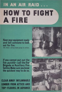 In an air raid, how to fight a fire original World War 2 vintage poster
