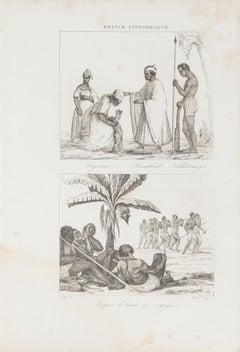 Indigenous Costumes  - Original Lithograph - 19th Century