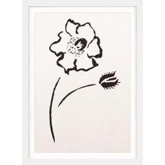 Ink Floral, No. 4, silkscreen, handmade paper, framed
