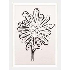 Ink Floral, No. 5, silkscreen, handmade paper, framed