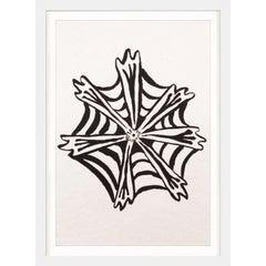 Ink Floral, No. 7, silkscreen, handmade paper, framed