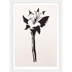 Ink Floral, No. 8, silkscreen, handmade paper, framed