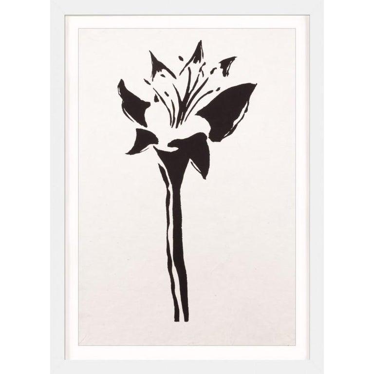 Unknown Print - Ink Floral, No. 8, silkscreen, handmade paper, framed