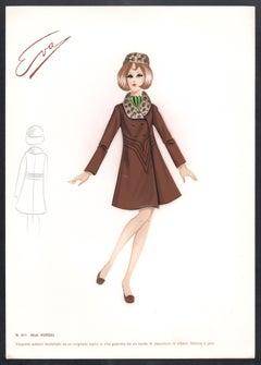 'Kursal' Italian 1960s Women's Fashion Design Illustration