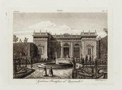 Italian Garden - Original Etching 19th Century
