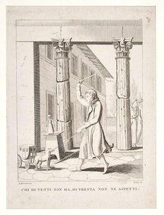 Italian Proverb - Original Etching - Late 19th Century
