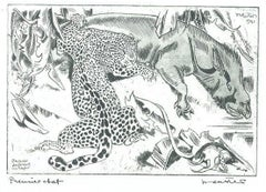 Jaguar Dévorant un Tapis - Original Etching by Unknown French Artist - 1941