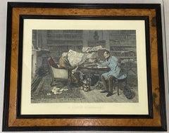 """James Dobie """"A Little Mortgage"""" Color Engraving After Walter Dendy Sadler c.1894"""