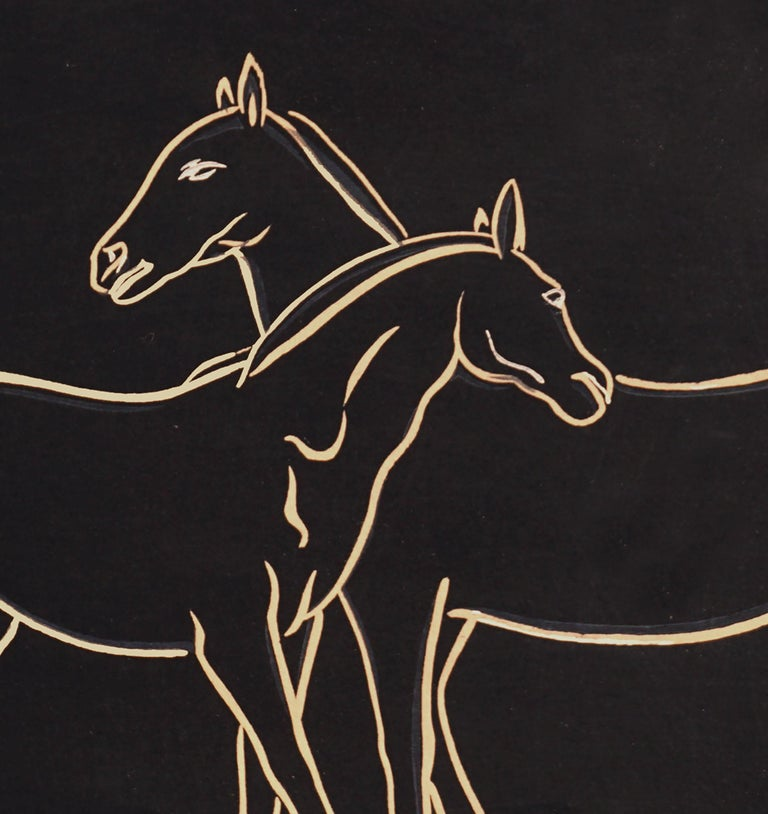 Graceful mid-century Japanese wood-cut print of two horses by Sonan Noda (Japanese, 20th Century). Signed on upper right corner with artist's chop and previous owner's chop. Presented in a black painted wood frame under glass. Image: 16