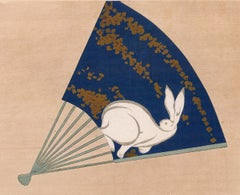 Japanese Fan with Rabbit Woodblock Print