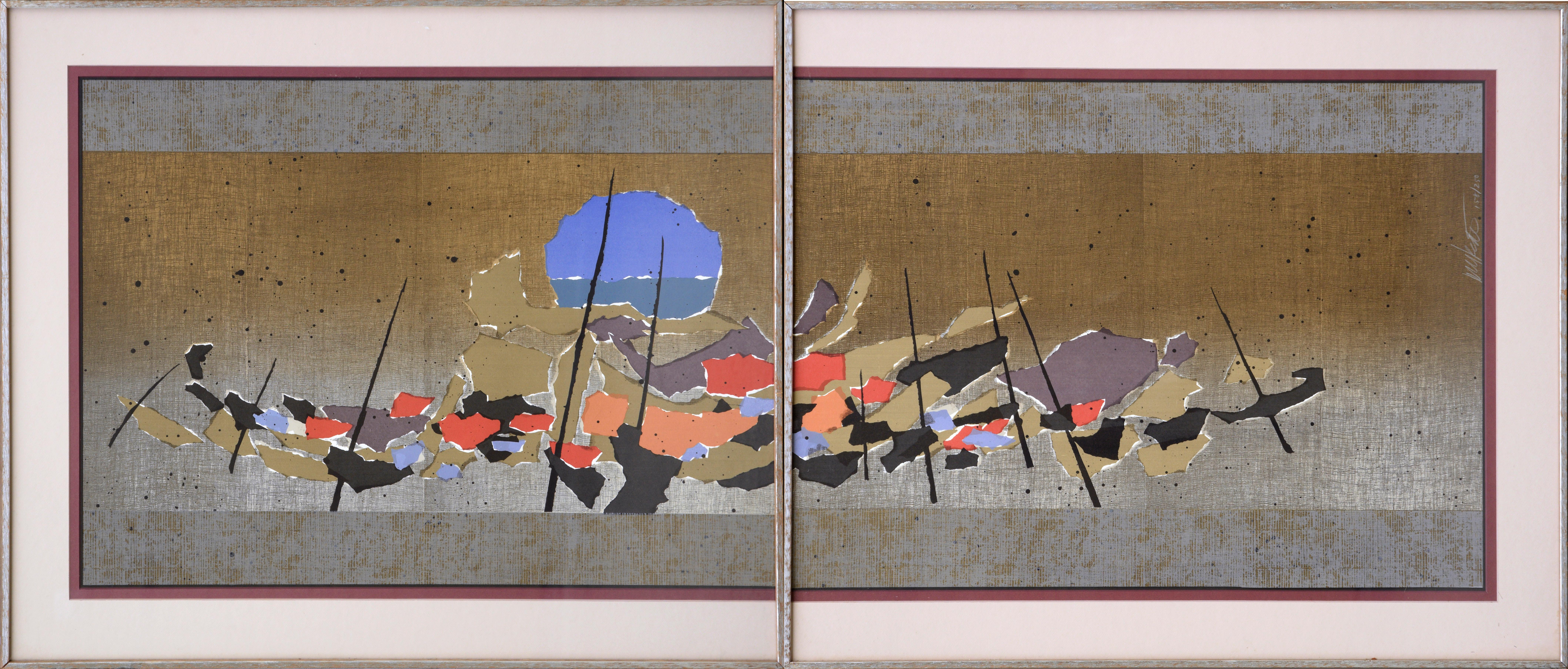 Japanese Fishing Boats Abstract Diptych