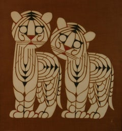 Japanese Two Tigers Serigraph #5 By Inikumo 1967