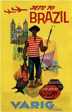 Jet to Brazil Varig Airlines original vintage travel poster