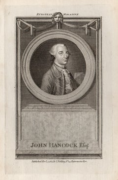 John Hancock, Patriot of the American Revolution, portrait engraving, 1783