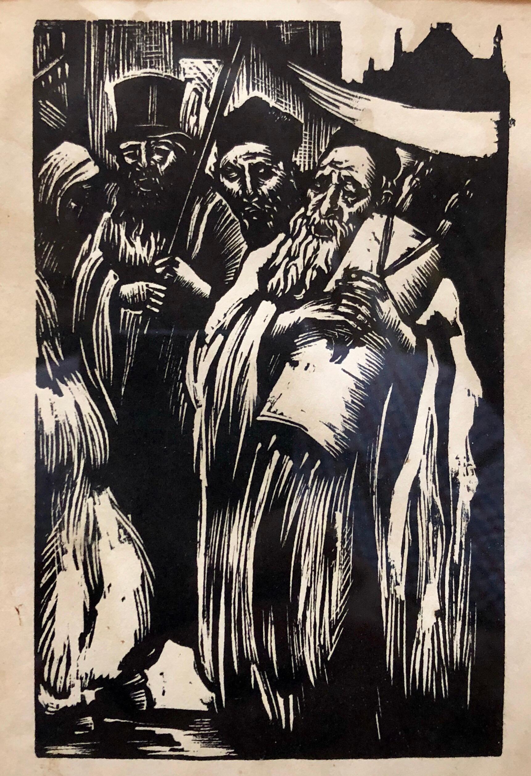 Judaica Woodcut Print Jewish Rabbi Hachnasas Torah Procession Woodblock