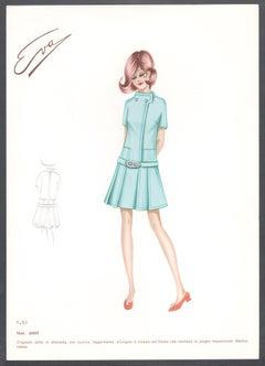 'Judit' Italian 1960s Women's Fashion Design Illustration