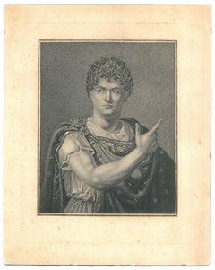 Julius Cesar - Original Etching on Cardboard - 18th Century