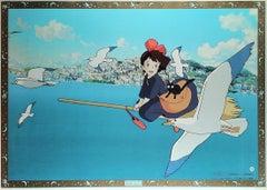 Kiki's Delivery Service Original Vintage Poster, Bordered, Miyazaki, Ghibli