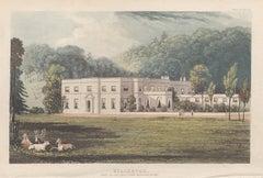 Killerton, Devon, English Regency country house colour aquatint, 1818