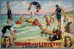 """Knapp and Listette: A Duo of Drolls,"" Original Color Lithograph Beach View"