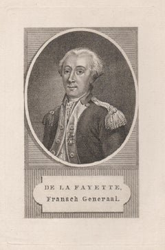 La Fayette, General in the American Revolutionary War, portrait engraving, 1790
