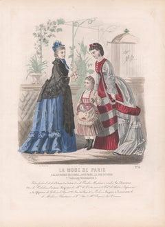 La Mode de Paris, French late 19th century colour fashion illustration engraving