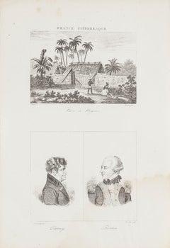 Landscape and Portraits - Original Lithograph - 19th century