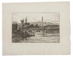 Landscape - Original Etching - 19th Century