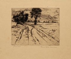 Landscape - Original Etching 19th Century