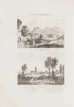Landscape - Original Lithograph - 19th Century