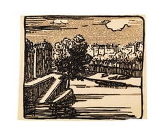 Landscape - Original Woodcut - Mid 20th Century