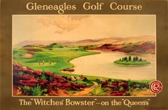 Large Original Caledonian Railway Poster Gleneagles Golf Course Witches' Bowster