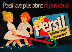 Large Original Vintage French Advertising Poster Persil Washes Whiter And Softer