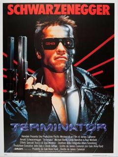 Large Original Vintage Sci-Fi Movie Poster For Terminator Arnold Schwarzenegger