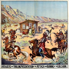 Large Six Sheet Original Antique Poster Log Cabin Attack Wild West Show USA