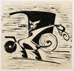 Le Chat Botté - Original Woodcut - 1960s