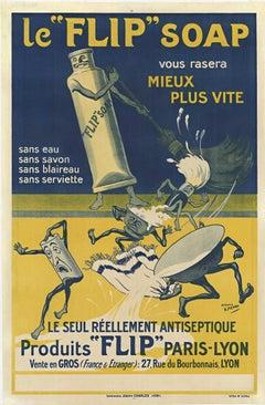 """Le """"FLIP"""" Soap original vintage French antique poster"""