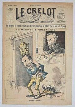 Le Grelot - Le Manifeste Orléaniste - Original Lithograph - 1887