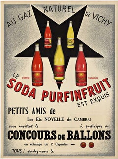 Le Soda Purfinfruit original vintage poster